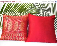 SALE Brocade Pillow Cover Red Pillows Pillow by TheHomeCorner, $44.00