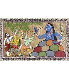 Rama Fighting Taraka - Patta Painting