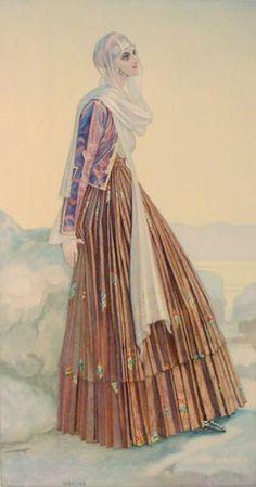 Festive Dress (Euboea island, Greece, town of Kymi) Greek Traditional Dress, Traditional Fashion, Ancient Greek Costumes, Greek Dress, Greek Culture, Costume Collection, Greek Art, Festival Dress, Folk Costume
