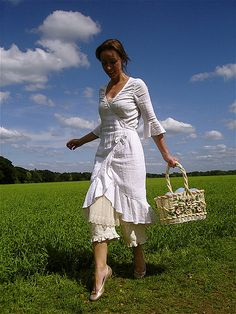 """Verity Hope"" wrap dress in white cotton gauze, by Malphi Rustic Chic (Susannah Dashwood), 2008"
