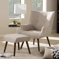 Baxton Studio Nola Mid-Century Beige/Brown Fabric Upholstered Accent Chair and Ottoman Set-7041-7042-HD - The Home Depot