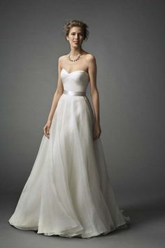 "{Stunning Simplicity At It's Finest! Strapless Wedding Gown Showcasing A Pretty Sweetheart Neckline, Subtle Texture At The Neckline, & A Silver Satin Sash/Belt Around The Natural Waist; ""Mabel"" by Watters Bridal Collection Buy Wedding Dress, 2015 Wedding Dresses, Wedding Attire, Bridal Dresses, Wedding Gowns, Dresses 2014, Wedding Cakes, Bridesmaid Dresses, Wedding Rings"