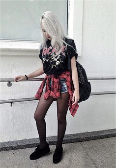 Vintage graphic printed t-shirt with flannel, denim shorts, stocking, creepers shoes & studded backpack by maridevogeski