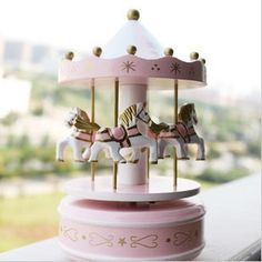 Wooden Music Box Carousel house Kids love Merry-go-round Wood Zakka Style Hand Cranked Home Decoration Castle in the Sky $15.86
