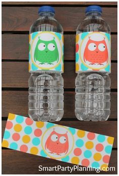 Gorgeous owl party printables for water bottle labels #CuteOwls #PrintbleWaterBottleLabels