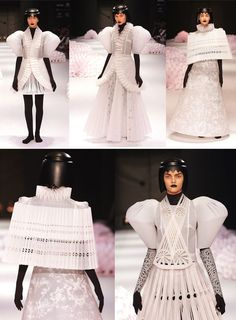 Three years before, designer Jum Nakao spent 700 hours painstakingly cutting, curling, pleating and manipulating paper into stunning dresses for his collection showcased in Sao Paulo Fashion Week 2004. Which at the end of the runway show, the models lined up side by side and ripped their paper-dresses off.