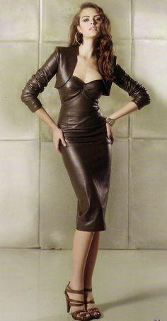 latexfashion: leather-fashionista:Lather Fashion Brown leather dress and bolero.