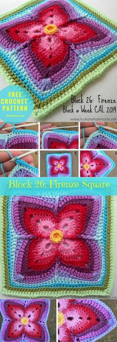 Block 26 Firenze #Square #Freepattern #Crochetblock | size: 12″ | Written | US Terms Level: upper beginner yarn: Lion Brand Vanna's Choice Solids, Heathers & Twists / Aran (8 wpi) Hook: 5.5 mm Clover Amour (I/9) Author: Julie Yeager