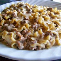 One of my more favorite comfort foods. Ground Beef Stroganoff served over egg noodles. Yum!