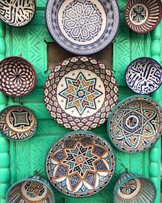 Our eyes just get lost in these patterns! 😍✨ We have a little secret, new exclusive designs are in the works. Moroccan Plates, Moroccan Dishes, Ceramic Plates, Decorative Plates, Moroccan Pattern, Mini Paintings, Moorish, Moroccan Style, Pottery Painting