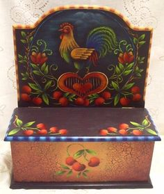 peinture sur bois d'un coq dans le style folkart/ This is one of my all most done pieces. Painting Words, Tole Painting, Fabric Painting, Painting & Drawing, Rosemary West, Tole Decorative Paintings, Country Chicken, Coqs, Chicken Painting