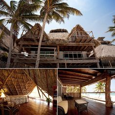 Set along stunning white-sand beaches, this Caribbean beach house, built in features a hut-like design in an open, expansive space. Bamboo Architecture, Tropical Architecture, Thatched Roof, Metal Homes, Island Resort, Colonial, House Goals, Island Life, House Built