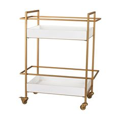 Wow is all we can say! This cart has a vibrant, golden frame and glossy, white trays and makes quite the statement itself.