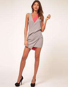 ASOS PETITE Exclusive Mini Dress With Cut Out Strap Detail