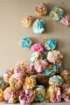 paper bunting garland 50 pink and blue poms on Etsy Tissue Paper Decorations, Paper Bunting, Bunting Garland, Cake Table Backdrop, Photo Booth Backdrop, Tissue Pom Poms, Pop Up Shops, Cottage Chic, Vintage Sewing Patterns