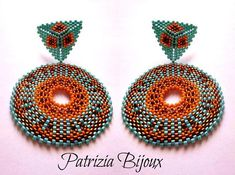 Africa - Tutorial orecchini perline peyote circolare - Rocailles e Delica Miyuki rame, arancione e turcheseBijoux ethniques, bijoux africains, african earrings for women, ankara earrings, boucles d'oreilles ethniques, african earrings, afrojewelry. tribal   Pattern Africa #fashion #african #africanfashion #africanstyle #africanamerican #summer #summerstyle #pattern #tutorial #beadwork #beaded #patriziabijoux #turquoise #etsy #etsyshop #ethnic #etsyfashion #etsystar #tribal #handmade