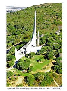 aerial view of paarl monument Afrikaans Language, View Map, Aerial View, Geography, South Africa, Golf Courses, Places, Cape, Travel