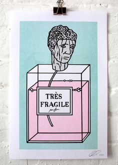 A super spécial risograph print. 7.5 pts. Drawn by Gabrielle Laïla Tittley, printed by lAbricot. Signed and Numbered.  Emo girl perfume. ---------------