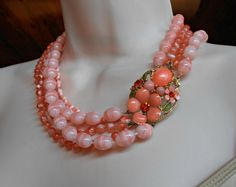 Selini Necklace Multi Strand Coral Lucite with by LynnHislopJewels