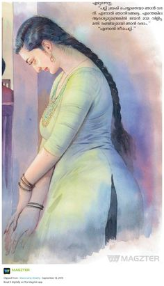 Indian Women Painting, Indian Art Paintings, Old Paintings, Awesome Paintings, Sexy Painting, Woman Painting, Beauty In Art, Cartoon Girl Drawing, India Art