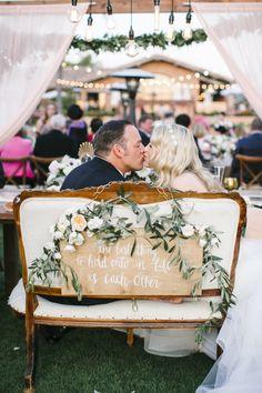 Adorable sweetheart bench: http://www.stylemepretty.com/california-weddings/rancho-santa-fe/2016/05/18/see-why-this-california-wedding-is-a-treasure-trove-of-pretty/ | Photography: Josh Elliott Studios - http://joshelliottstudios.com/