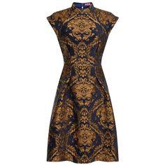Chi Chi London Oriental skater dress (140 CAD) ❤ liked on Polyvore featuring dresses, navy, women, textured dress, navy dress, evening wear dresses, brown skater dress und navy cap sleeve dress