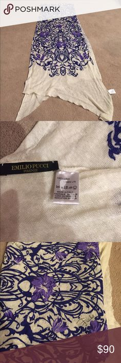 Brand new never worn Emilio Pucci long scarf Brand new never worn Emilio Pucci Italian scarf /wrap very long for summer and spring 💯 % linen! Great detail Emilio Pucci Accessories Scarves & Wraps