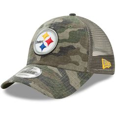 Youth Pittsburgh Steelers New Era Camo Trucker Duel 9FORTY Adjustable Hat 124955555