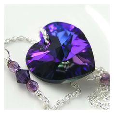 ELECTRIC PURPLE Heart Necklace, Amethyst Cobalt Blue Swarovski... via Polyvore