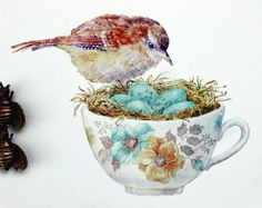 bird and teacup by Tonya Ramsey