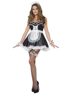 Purchase your French maid set for theme parties from the Halloween Spot. This black and white maid costume comes with Lace Cuffs, Hat, Apron and Garter. Costumes Sexy Halloween, Halloween Costume Accessories, Women Halloween, Couple Halloween, Maid Outfit, Maid Dress, Sexy Outfits, French Maid Lingerie, French Maid Fancy Dress