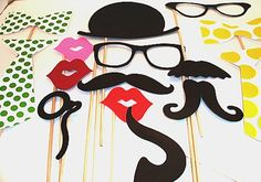 Wedding Photo booth Props - Photo Props - Wedding Photo props - Set of 15 - Yellow and Green Hipster  Set. $20.95, via Etsy.