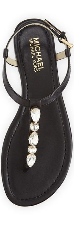 MICHAEL Michael Kors Jayden Embellished Thong Sandal | The House of Beccaria#: