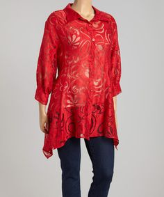 Red Sheer Swirl Sidetail Jacket - Plus by Come N See #zulily #zulilyfinds.....they have other beautiful colors in this design!