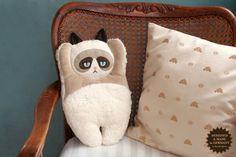 Grumpy Cat plush pillow by PetitiPanda on Etsy, €42.90