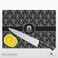 Darth Vader Star Wars Damask Glass Cutting Board....love damask, not glass cutting boards though.... And then there's earth vader.....lol