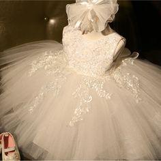 小売アップリケフラワーガールのドレスで大きな弓女の子のためのエレガントな天使子供初聖体ドレスパーティードレスL-116