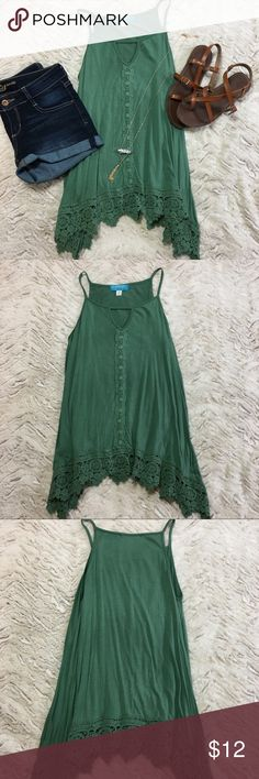 47c3d716746c40 Francesca s green lace tank top Green lacy tank top from Francesca s.  Gently used condition.