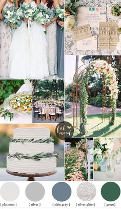 In making the preparations for a wedding.Rustic and Glam Wedding { Platinum gray silver and slate gray wedding } rustic and elegant wedding ideas with earthy tones Gray Wedding Colors, Wedding Color Schemes, Green Wedding, Spring Wedding, Wedding Flowers, Grey Wedding Theme, Wedding Color Palettes, Wedding Themes, Wedding Decorations