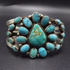 Gorgeous Vintage NAVAJO Sterling Silver & TURQUOISE Cluster Cuff BRACELET | Jewelry & Watches, Ethnic, Regional & Tribal, Native American | eBay!