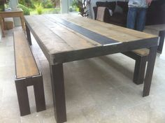 Industrial Dining Table Benches 6 Seat Vintage Chic Loft Living