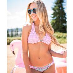 "DollStreet  on Instagram: ""Gingham + Flamingos  #Barbie #dollstreet #glamour #makeup #hair #beauty #gingham #flamingo #giantflamingo #bikini #swimwear #sunnies #summer @laurencross_photography @danimcginnis"" Bikini Swimwear, Bikinis, Glamour Makeup, Gingham, Sunnies, Barbie, Hair Beauty, Instagram Posts, Summer"