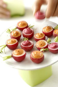 radishes with red pepper or beet hummus