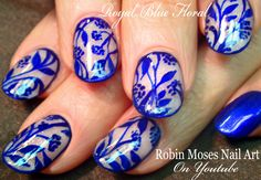 DIY Blue Flower Nail Art Design Tutorial