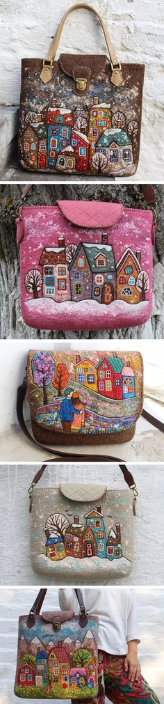 Colorful hand felted and embroidered bags by Natalya Gourina