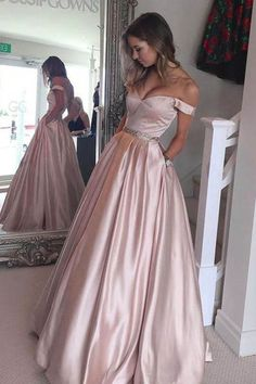 Hot-Selling Off Shoulder Ball Gown Pearl Pink Long Prom/Evening Dress prom,prom dress,prom dresses,prom gown,prom gowns,long prom dress
