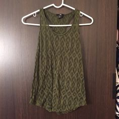 Lightweight olive green tank 100% polyester H&M Tops Tank Tops
