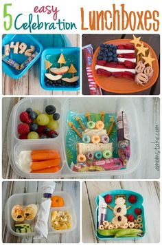 5 Easy Celebration Lunchbox themed bento lunches for kids including 4th of July, Columbus, Birthday, Halloween, and Winter themes