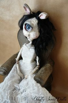 VIV Oddly Sweet Doll OOAK Victorian Posable Cyclops Animal Art Bunny LMRB   eBay