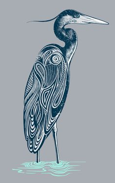 Bewitching blue heron Art Print by Rachel Caldwell | Society6